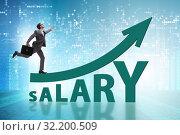 Купить «Concept of increasing salary with businessman», фото № 32200509, снято 29 мая 2020 г. (c) Elnur / Фотобанк Лори