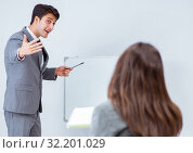 Купить «Business presentation in the office with man and woman», фото № 32201029, снято 7 августа 2017 г. (c) Elnur / Фотобанк Лори