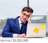 Купить «Workaholic businessman overworked with too much work in office», фото № 32203309, снято 11 октября 2016 г. (c) Elnur / Фотобанк Лори