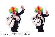 Купить «Businessman clown isolated on white», фото № 32203449, снято 8 мая 2013 г. (c) Elnur / Фотобанк Лори
