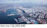 Купить «Evening panoramic view of Mediterranean coastal city of Almeria with harbor, Spain», видеоролик № 32205045, снято 22 мая 2019 г. (c) Яков Филимонов / Фотобанк Лори