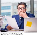 Купить «Workaholic businessman overworked with too much work in office», фото № 32206605, снято 11 октября 2016 г. (c) Elnur / Фотобанк Лори