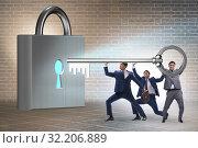 Купить «Businessmen unlocking new opportunity with key», фото № 32206889, снято 6 декабря 2019 г. (c) Elnur / Фотобанк Лори