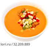 Купить «Andalusian cold soup gazpacho in bowl with cucumber and tomatoes», фото № 32209889, снято 20 ноября 2019 г. (c) Яков Филимонов / Фотобанк Лори