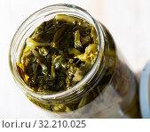Купить «Glass jar with pickled swiss chard», фото № 32210025, снято 13 декабря 2019 г. (c) Яков Филимонов / Фотобанк Лори