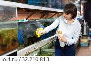 Купить «Woman washing glass of aquariums», фото № 32210813, снято 27 февраля 2019 г. (c) Яков Филимонов / Фотобанк Лори