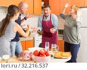 Family members having conflict in kitchen. Стоковое фото, фотограф Яков Филимонов / Фотобанк Лори