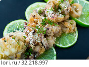 Купить «Closeup of squid and sepia tempura on limes», фото № 32218997, снято 21 февраля 2020 г. (c) Яков Филимонов / Фотобанк Лори