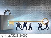 Купить «Businessmen unlocking new opportunity with key», фото № 32219697, снято 6 декабря 2019 г. (c) Elnur / Фотобанк Лори