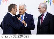 Купить «29.09.2011 Warsaw, Poland. Eastern Partnership Summit. Pictured: Jerzy Buzek, Donald Tusk, Herman van Rompuy», фото № 32220025, снято 22 октября 2019 г. (c) age Fotostock / Фотобанк Лори