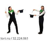 Купить «Man with big green bow tie in funny concept», фото № 32224061, снято 16 февраля 2015 г. (c) Elnur / Фотобанк Лори