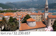 Купить «Budva, Montenegro - June 13.2019. Old Town and Cathedral of St. John the Baptist», видеоролик № 32230657, снято 27 сентября 2019 г. (c) Володина Ольга / Фотобанк Лори