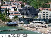 Купить «View of the city of Budva from the Mediterranean Sea, Montenegro», фото № 32231029, снято 13 июня 2019 г. (c) Володина Ольга / Фотобанк Лори