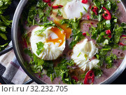 Купить «red kidney Bean Soup with poached eggs», фото № 32232705, снято 23 мая 2019 г. (c) Oksana Zh / Фотобанк Лори