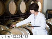 Купить «Expert examines equipment at winery», фото № 32234193, снято 12 октября 2016 г. (c) Яков Филимонов / Фотобанк Лори