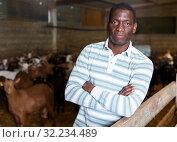 Купить «African-American man with arms crossed in goat stall», фото № 32234489, снято 15 декабря 2018 г. (c) Яков Филимонов / Фотобанк Лори