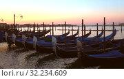 Купить «Пришвартованные гондолы ранним сентябрьским утром. Венеция, Италия», видеоролик № 32234609, снято 27 сентября 2017 г. (c) Виктор Карасев / Фотобанк Лори