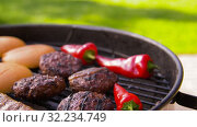Купить «barbecue kebab meat and vegetables on grill», видеоролик № 32234749, снято 20 сентября 2019 г. (c) Syda Productions / Фотобанк Лори