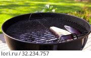 Купить «tongs putting eggplant to hot brazier grill», видеоролик № 32234757, снято 20 сентября 2019 г. (c) Syda Productions / Фотобанк Лори