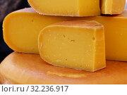 Купить «Close up cut slices and wheel of hard gouda cheese», фото № 32236917, снято 27 мая 2017 г. (c) Anton Eine / Фотобанк Лори