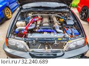 Купить «Tuned turbo car engine of Toyota in Lada», фото № 32240689, снято 19 мая 2018 г. (c) FotograFF / Фотобанк Лори