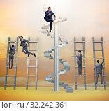 Купить «Competition concept with businessman beating competitors», фото № 32242361, снято 3 июля 2020 г. (c) Elnur / Фотобанк Лори