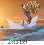 Купить «The businessman rowing on dollar boat in business financial conc», фото № 32242377, снято 5 июля 2020 г. (c) Elnur / Фотобанк Лори