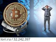 Купить «The businessman falling into the trap of bitcoin cryptocurrency», фото № 32242397, снято 22 ноября 2019 г. (c) Elnur / Фотобанк Лори