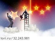Купить «Businessman helping his woman colleague with promotion», фото № 32243981, снято 22 февраля 2020 г. (c) Elnur / Фотобанк Лори