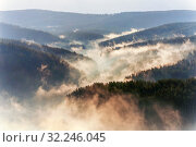 The Urals in the morning mist. Bashkortostan. Стоковое фото, фотограф Акиньшин Владимир / Фотобанк Лори