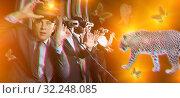 Купить «Excited man in virtual reality room», фото № 32248085, снято 29 января 2019 г. (c) Яков Филимонов / Фотобанк Лори