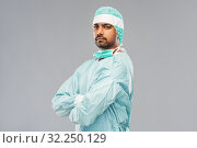 Купить «indian male doctor or surgeon in protective wear», фото № 32250129, снято 8 сентября 2019 г. (c) Syda Productions / Фотобанк Лори