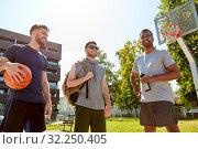 Купить «group of male friends going to play basketball», фото № 32250405, снято 21 июля 2019 г. (c) Syda Productions / Фотобанк Лори