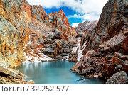 Купить «Iced lake surrounded by Schalbus-Dag mountain in Dagestan, Caucasus Russia», фото № 32252577, снято 7 июня 2020 г. (c) easy Fotostock / Фотобанк Лори