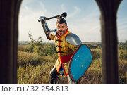 Купить «Medieval knight poses in armor opposite the castle», фото № 32254813, снято 5 июля 2019 г. (c) Tryapitsyn Sergiy / Фотобанк Лори