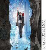 Купить «Businessman overcoming challenges in business concept», фото № 32262577, снято 11 декабря 2019 г. (c) Elnur / Фотобанк Лори