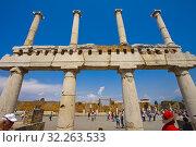 Купить «The Forum, Excavations of Pompeii, was an ancient Roman town destroyed by volcan Mount Vesuvius, Pompei, comune of Pompei, Campania, Italy, Europe.», фото № 32263533, снято 25 мая 2018 г. (c) age Fotostock / Фотобанк Лори