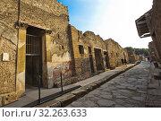 Купить «House of the Menander, Casa del Menandro, Excavations of Pompeii, was an ancient Roman town destroyed by volcan Mount Vesuvius, Pompei, comune of Pompei, Campania, Italy, Europe.», фото № 32263633, снято 25 мая 2018 г. (c) age Fotostock / Фотобанк Лори