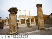 Купить «The Forum, Excavations of Pompeii, was an ancient Roman town destroyed by volcan Mount Vesuvius, Pompei, comune of Pompei, Campania, Italy, Europe.», фото № 32263733, снято 25 мая 2018 г. (c) age Fotostock / Фотобанк Лори