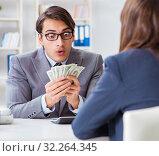 Купить «Businessmanbeing offered bribe for breaking law», фото № 32264345, снято 11 декабря 2017 г. (c) Elnur / Фотобанк Лори