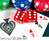The chips and cards on casino table. Стоковое фото, фотограф Elnur / Фотобанк Лори