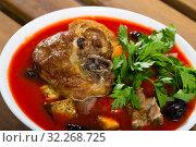 Купить «Savory tomato soup with mutton, dried plums and apricots», фото № 32268725, снято 16 августа 2018 г. (c) Яков Филимонов / Фотобанк Лори