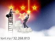 Купить «Businessman helping his woman colleague with promotion», фото № 32268813, снято 22 февраля 2020 г. (c) Elnur / Фотобанк Лори