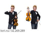 Купить «Young musician with violin isolated on white», фото № 32269289, снято 17 января 2014 г. (c) Elnur / Фотобанк Лори