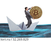 Купить «The businessman rowing on dollar boat in business financial conc», фото № 32269829, снято 5 июля 2020 г. (c) Elnur / Фотобанк Лори