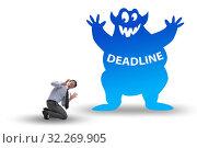 Купить «Businessman missing important deadline with monster», фото № 32269905, снято 20 октября 2019 г. (c) Elnur / Фотобанк Лори