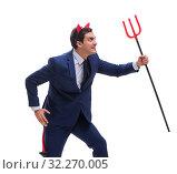 Купить «Evil devil businessman with pitchfork isolated on white backgrou», фото № 32270005, снято 24 октября 2017 г. (c) Elnur / Фотобанк Лори