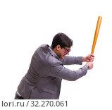Купить «Businessman with baseball bat isolated on white», фото № 32270061, снято 8 февраля 2017 г. (c) Elnur / Фотобанк Лори