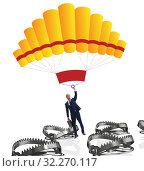 Купить «The businessman falling into trap on parachute», фото № 32270117, снято 19 октября 2019 г. (c) Elnur / Фотобанк Лори