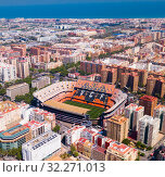 Valencia, Spain - April 16, 2019: Top view of the new Mestalla stadium. Valencia, Spain. Редакционное фото, фотограф Яков Филимонов / Фотобанк Лори